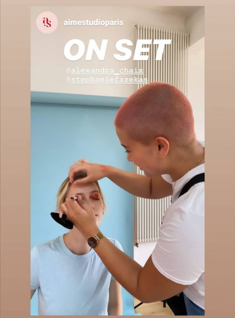 On set with Aime studio and Stephanie Fazekas